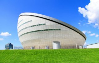 Astana National Library - offside with stone veneer aluminum honeycomb panels