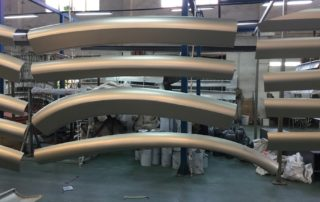 Aluminum double curved cladding panels in factory for Astana EXPO sphere building project